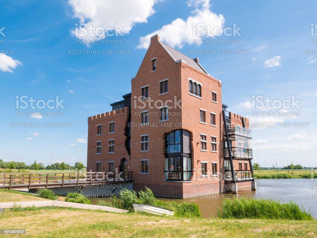 Modern apartment block in Woudrichem, Netherlands stock photo