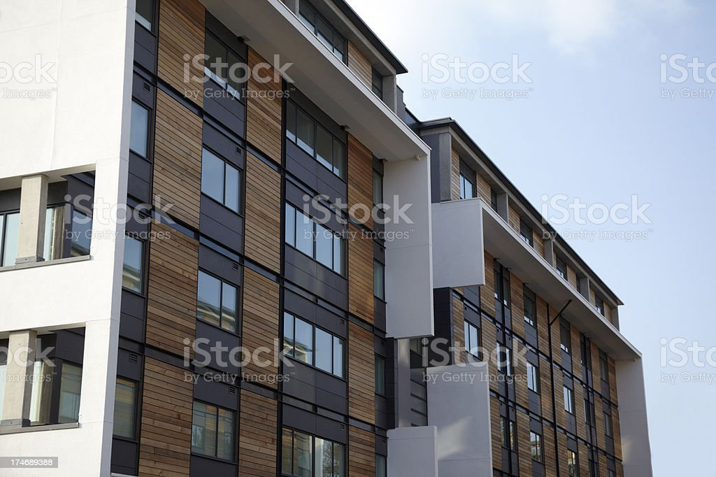 Charmant Modern Apartment Block With Wood Facade Royalty Free Stock Photo