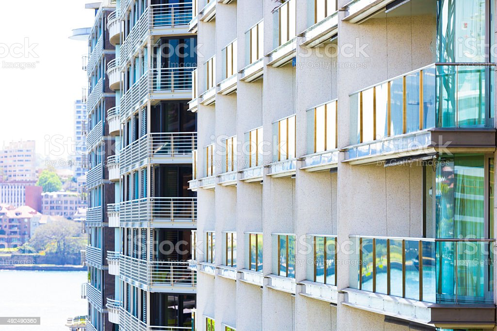 Modern apartment bloks, Sydney Australia, copy space stock photo