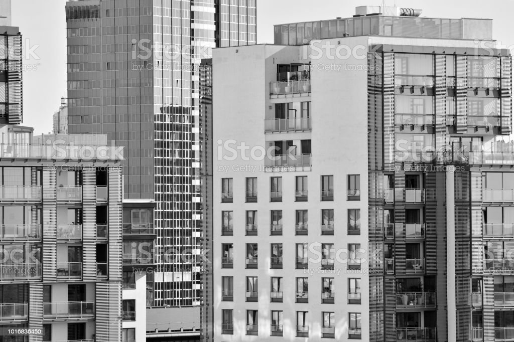 Modern apartment building exterior. Black and white. stock photo