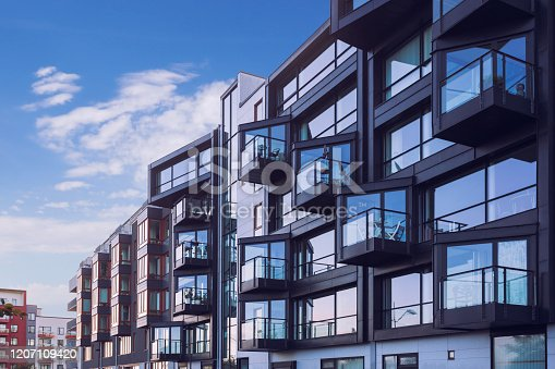 Facades of modern apartment buildings in the Västra Hamnen district of Malmö, Sweden.