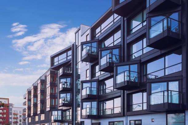 Modern apartment building facades stock photo