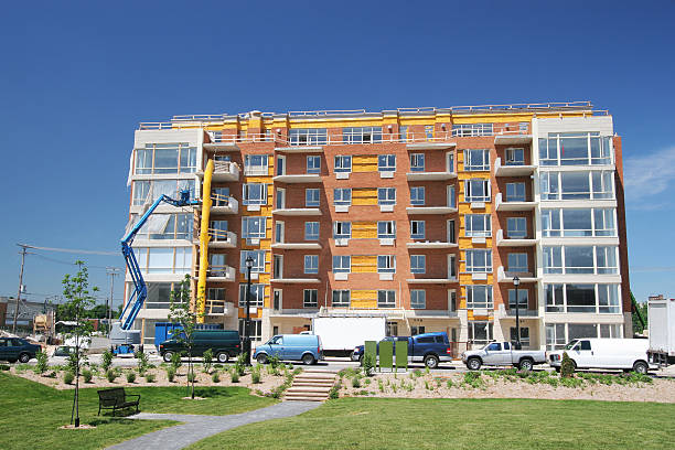 Modern Apartment Building in Construction stock photo
