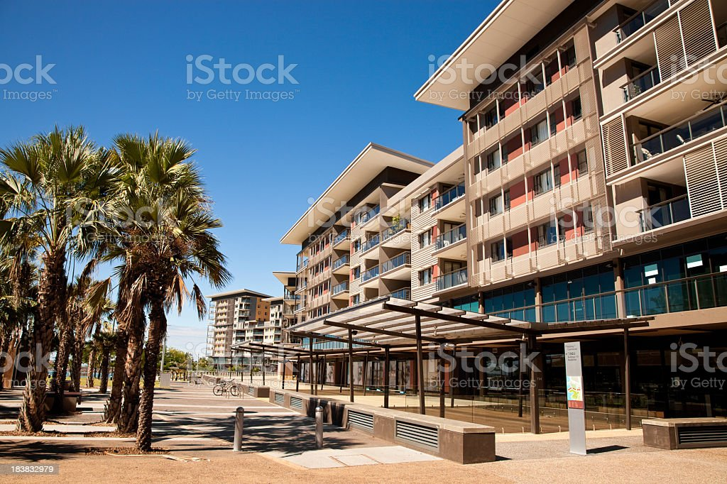 Modern apartment building in the daytime stock photo