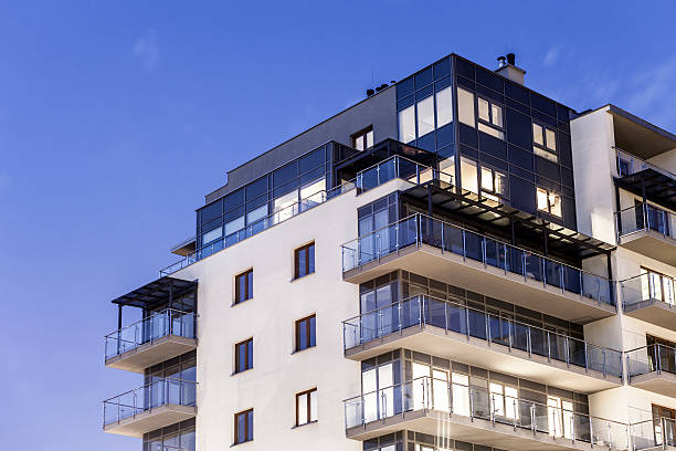 Modern Apartment Building Modern, Luxury Apartment Building penthouse stock pictures, royalty-free photos & images