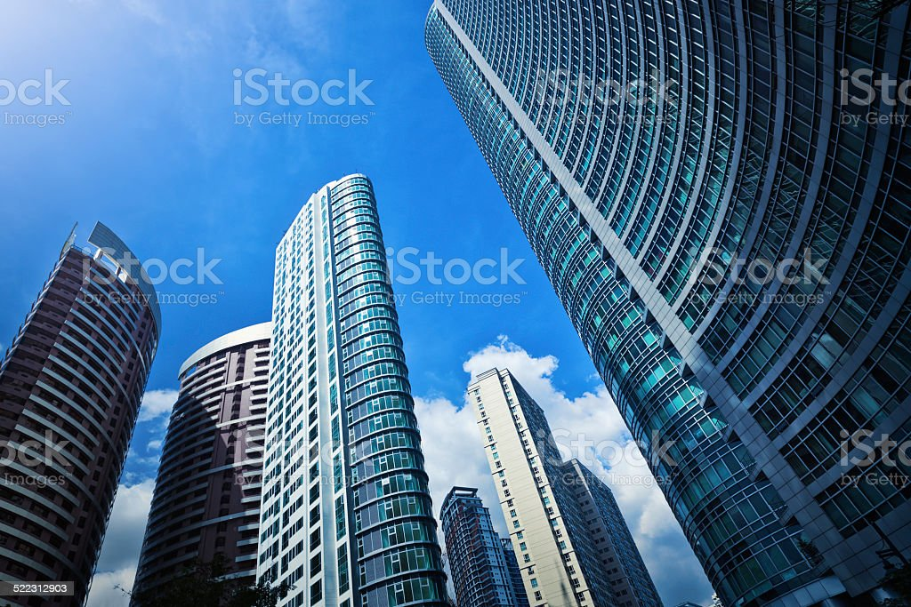 Modern apartment building skyscrapers stock photo