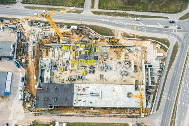 modern apartment building under construction. aerial top view stock photo