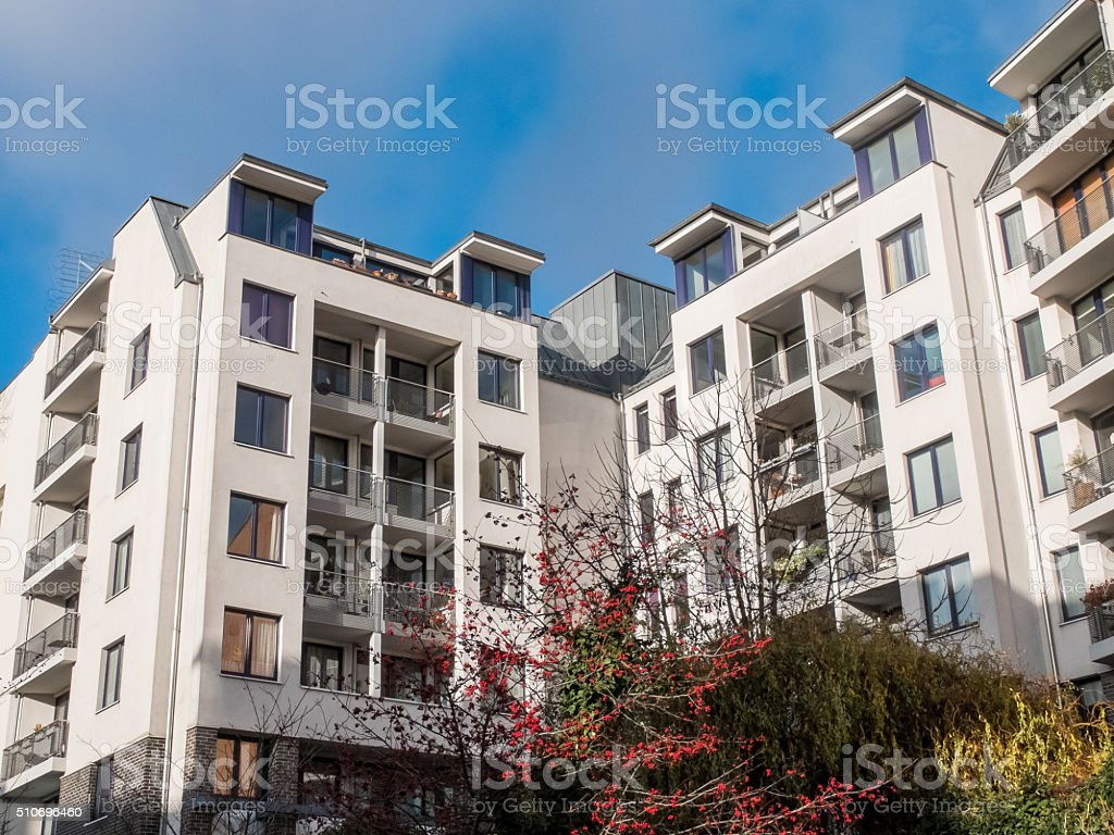 Modern Apartment Building With Autumn Trees Royalty Free Stock Photo