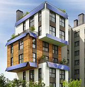 Modern architecture of a residential apartment building