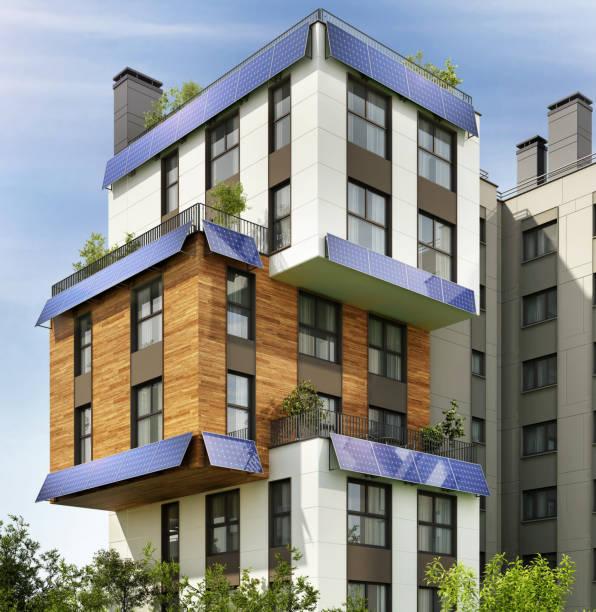 modernt hyreshus med solpaneler - solar panel bildbanksfoton och bilder