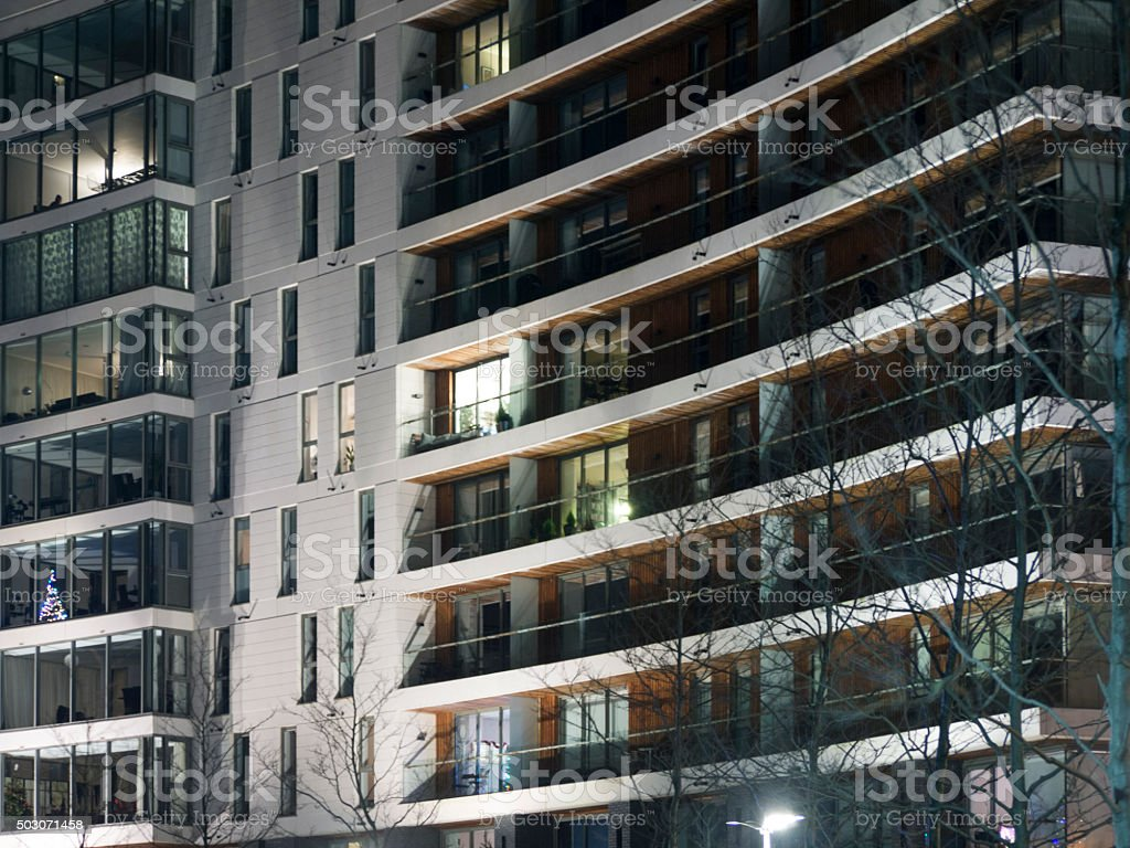 Modern Apartment Buildings at Night stock photo