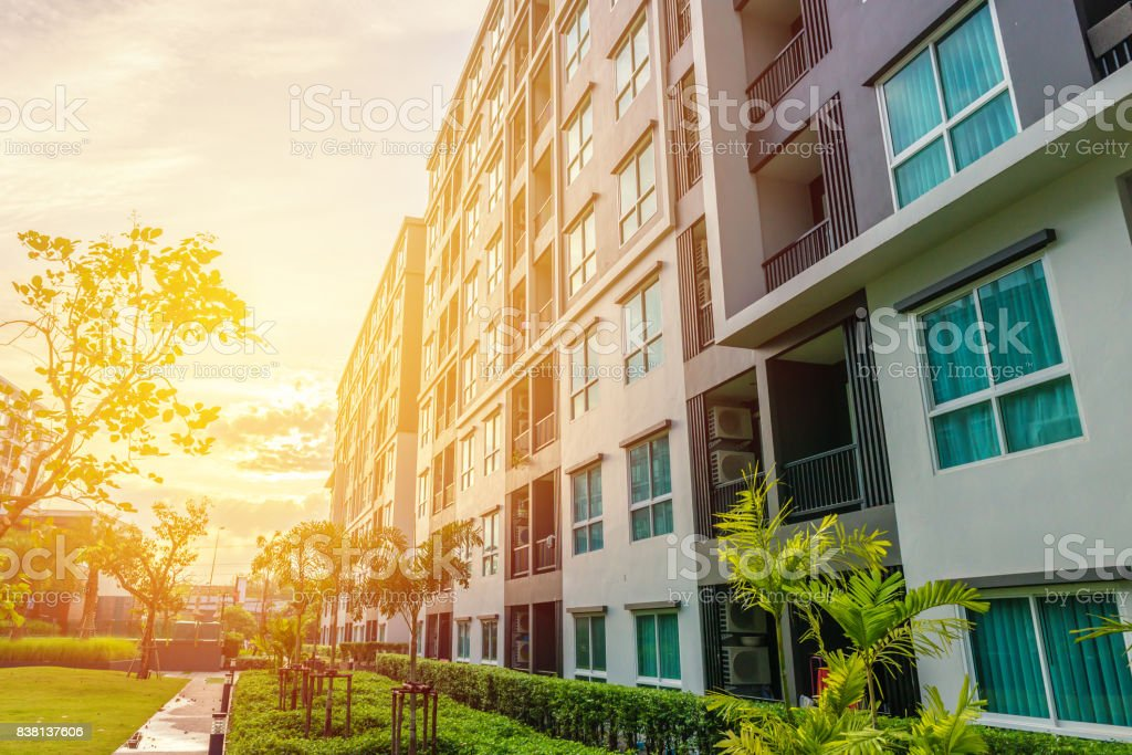 Modern apartment buildings exteriors or Contemporary Architecture Office In The City stock photo