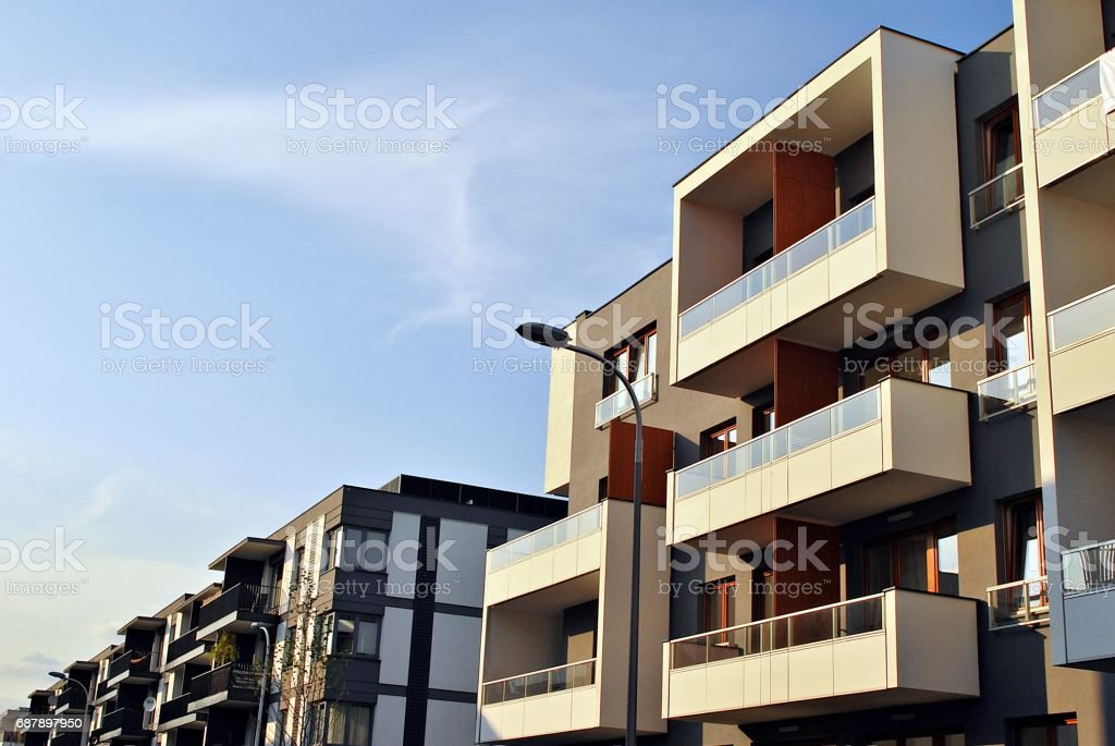 Modern apartment buildings exteriors stock photo