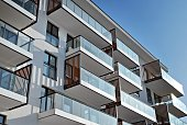 Modern, Luxury Apartment Building.Architectural details of modern apartment building.