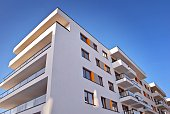 Modern, Luxury Apartment Building. Architectural details of modern apartment building.