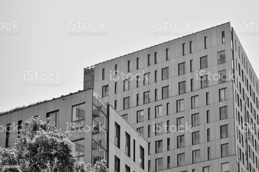 Modern Apartment Buildings Facade Of A Modern Apartment Building Black And  White Stock Photo - Download Image Now