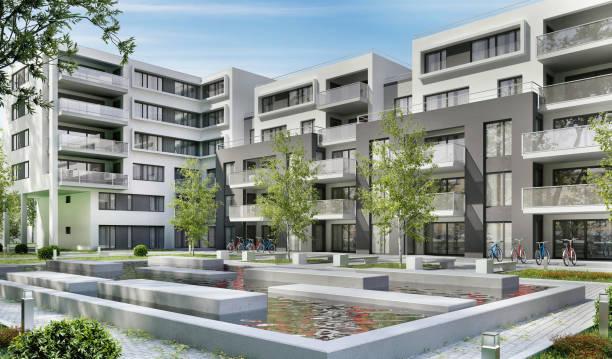 nowoczesne budynki mieszkalne - staw woda stojąca zdjęcia i obrazy z banku zdjęć