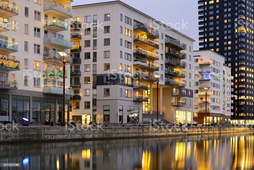 Modern apartment buildings bildbanksfoto