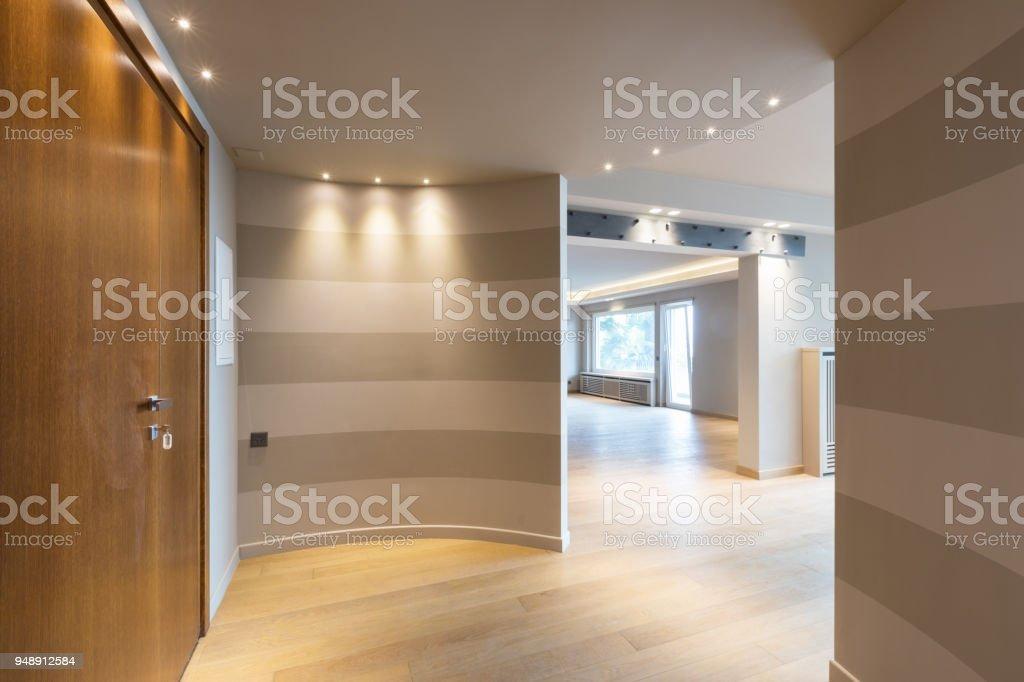 Moderne Wohnungseingang Mit Grauen Streifen An Der Wand Lizenzfreies  Stock Foto
