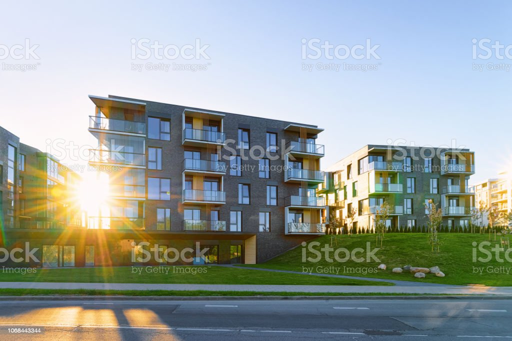 Modern Apartment Flat Building Real Estate Outdoor Sunset Stock Photo -  Download Image Now