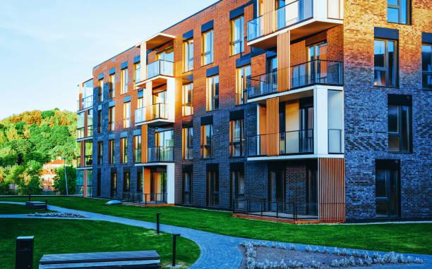 EU Modern apartment house building complex outdoor facilities stock photo
