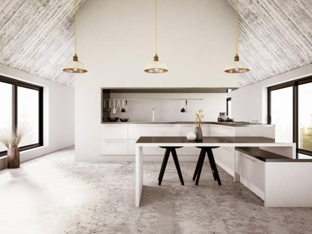 modernes apartment iinterior mit küche - outdoor esszimmer stock-fotos und bilder