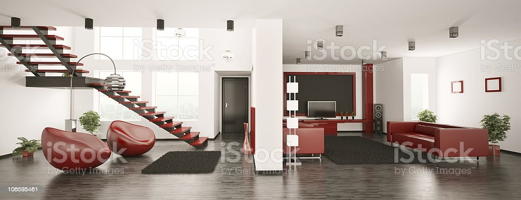 Modern apartment interior panorama 3d royalty-free stock photo