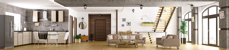 Modern Apartment Interior Panorama 3d Render Stock Photo - Download Image Now