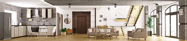 Intérieur de l'appartement moderne panorama 3d render - Photo