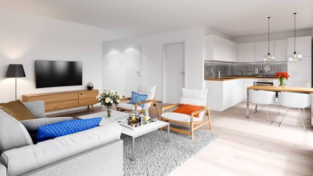 modernes apartment, innenansicht - zimmer bildschirm stock-fotos und bilder