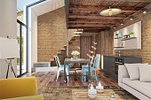 Scandinavian style interior. brick and wood with black details. yellow and blue colors. Living and dining room with sofa and armchair. designer background. stairs with wooden beams. daylight