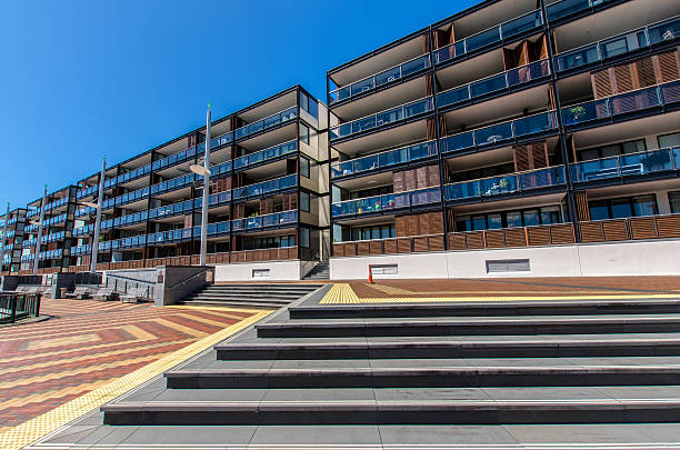 Modern apartment just beside the Viaduct Harbour in Auckland. stock photo