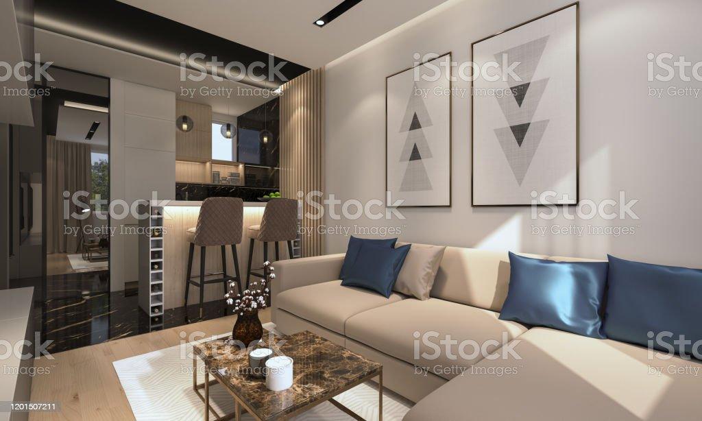 Modern Apartment Render of Modern Apartment Apartment Stock Photo