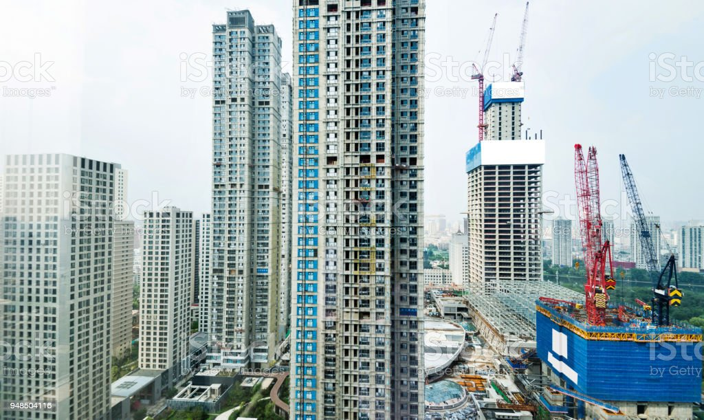 Modern apartment under construction stock photo
