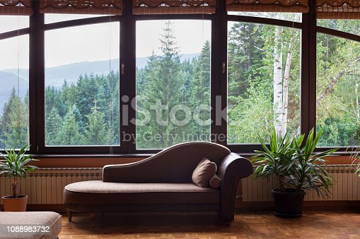 istock Modern apartment view with sofa and windows looking at trees 1088983732