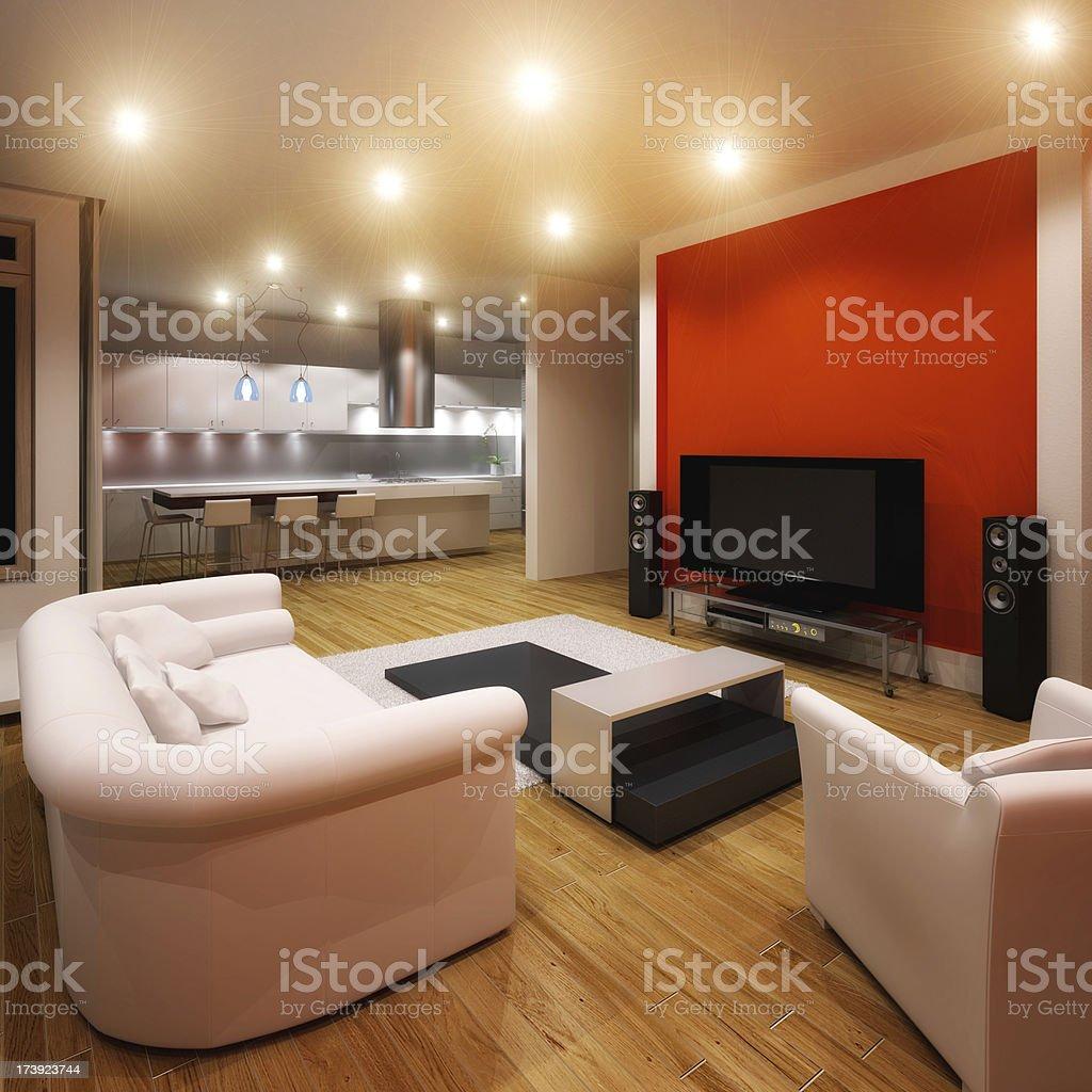 Modern apartment with minimalist furnishings royalty-free stock photo