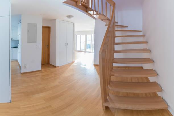 moderne Wohnung mit offenen Grundriss für Umzug nach Sanierung und Renovierung in leer – Foto