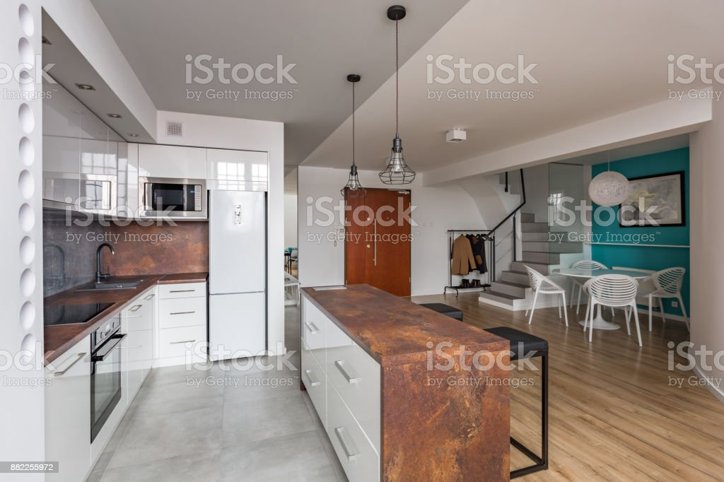 Modern Apartment With Open Kitchen Stock Photo More Pictures Of