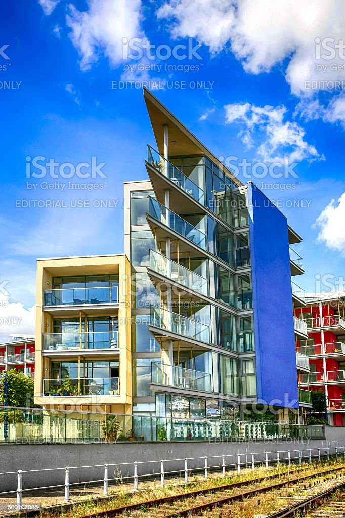 Modern apartments along Wapping Wharf, Bristol UK stock photo