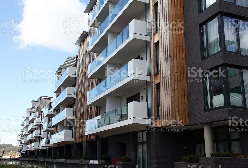 modern apartments in Bristol stock photo