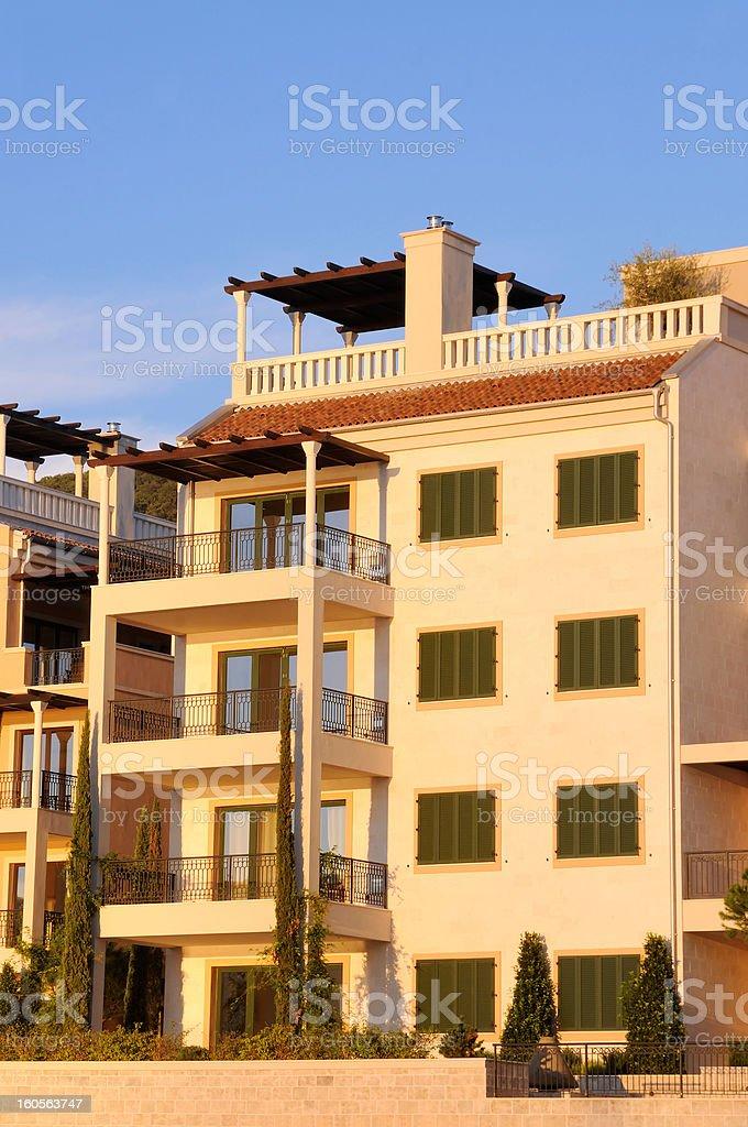 Modern apartments in Mediterranean royalty-free stock photo