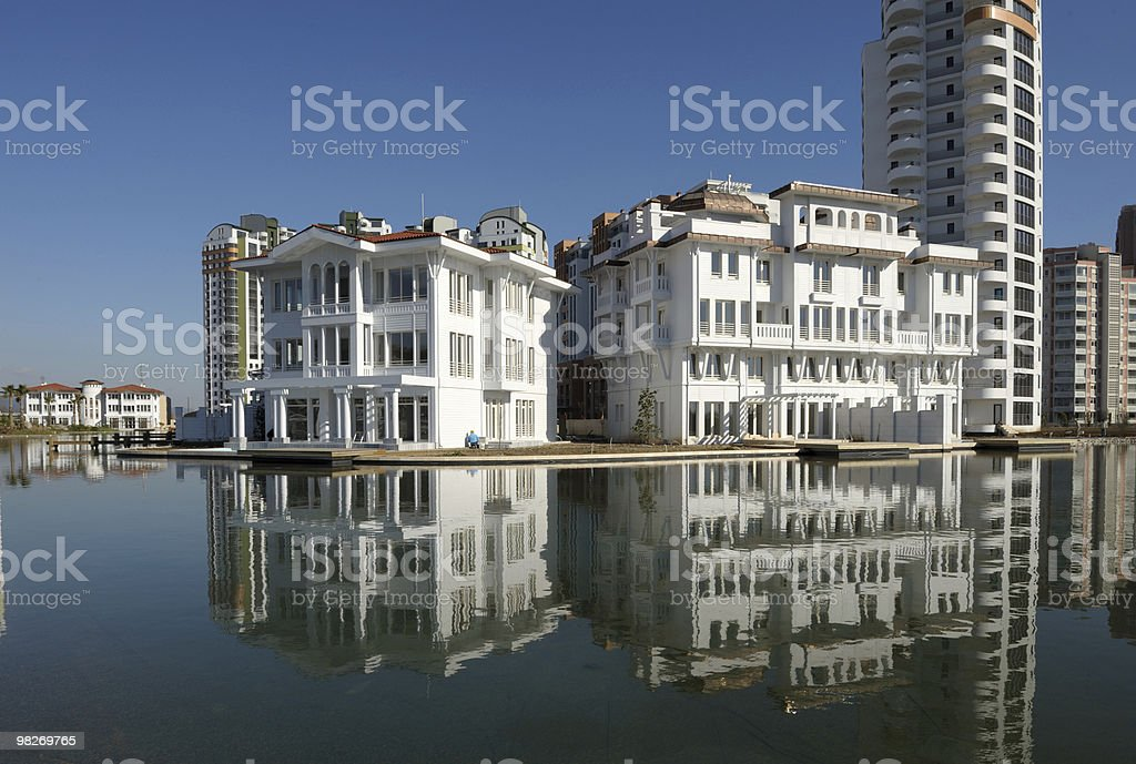 Modern apartments near the lake royalty-free stock photo