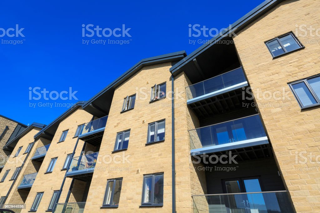 Modern apartments with balconies stock photo