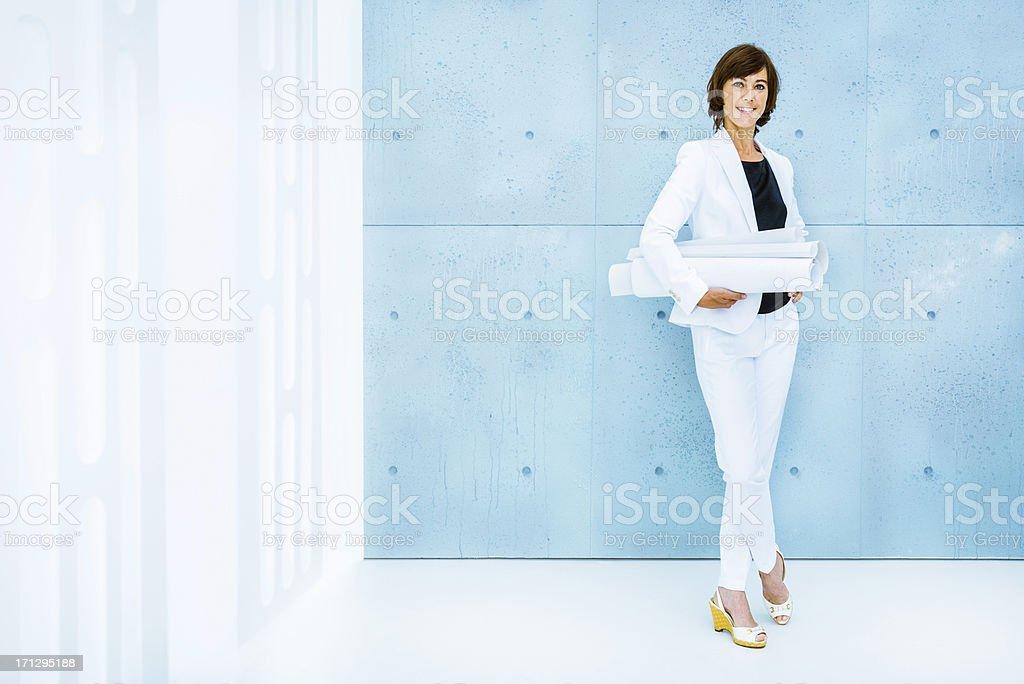 Modern architect with blueprints royalty-free stock photo