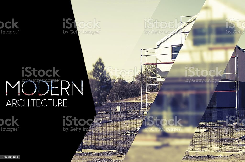 Modern architectural design background photography and typography stock photo