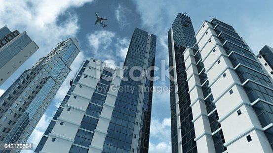 istock Modern architecture 3D rendering 642176864