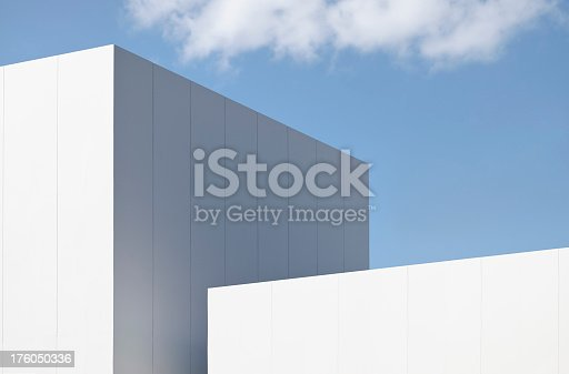 Close up on the detail of a modern structure against sky.