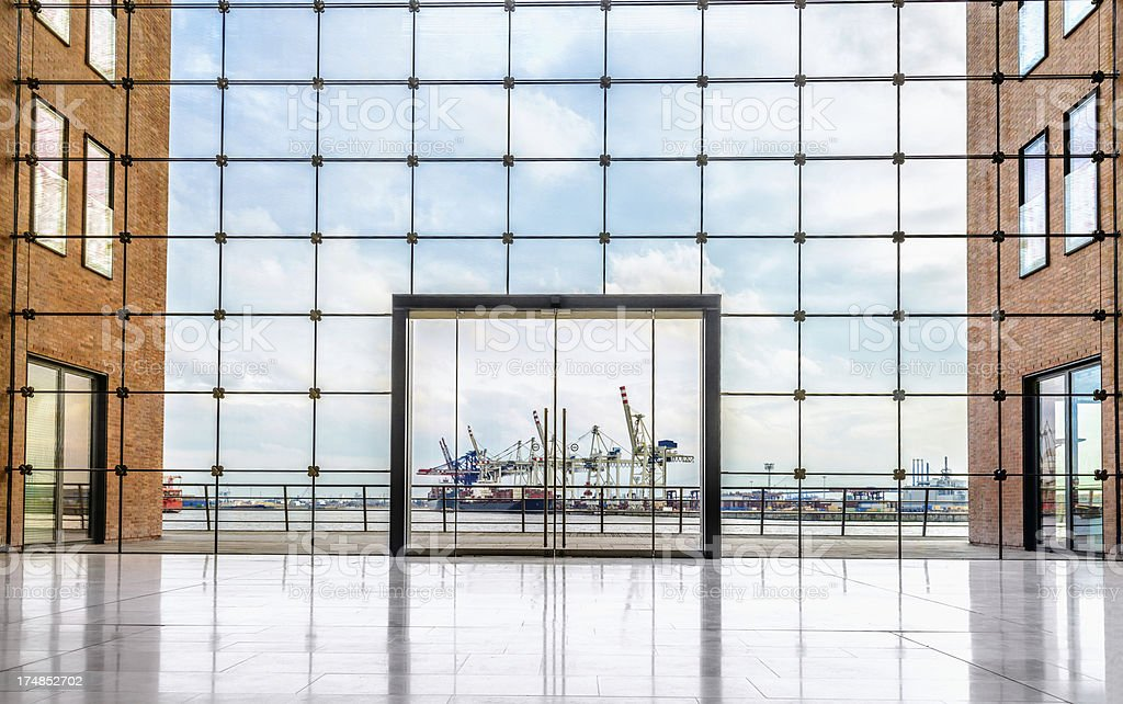 Modern Architecture and Container Terminal stock photo