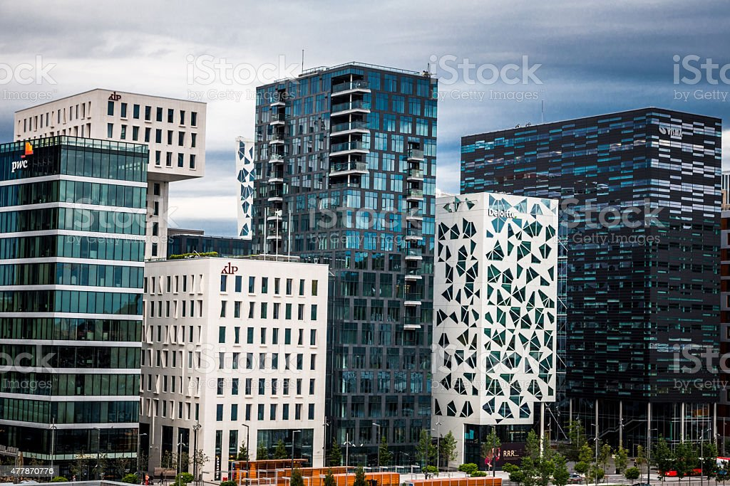 Modern architecture and skyscrapers in downtown Oslo, Norway stock photo