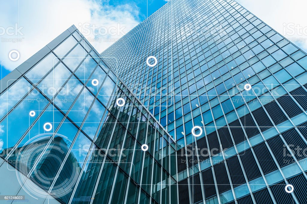 modern architecture and wireless communication network stock photo